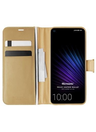 Microsonic Casper Via F20 Kılıf Delux Leather Wallet Gold Altın